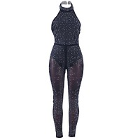 Solid Color Sexy Backless Halter Neck Women Casual Tight Jumpsuits
