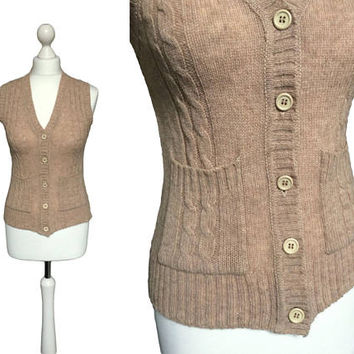 Vintage Knitted Wool Waistcoat | 1970's Waistcoat | Cable Knit Fawn Brown Wool Sweater  / Jumper | Vintage Dorothy Perkins Knitwear
