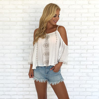Embrace Cold Shoulder Crochet Blouse