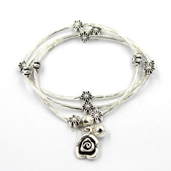25CM  silver changeable bracelet-necklace with flower charms , necklace,braclets,wristbands,bangles,10pcs/lot, free shipping