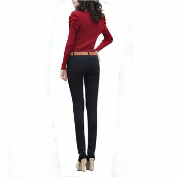 Sweet Casual Zipper Solid Candy Colors Mid Waisted Skinny Fit Pencil Pants Jeans