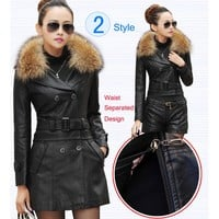 Leather Coat women New Style Waist Separated Desigan Women Fur Collar Leather Jacket Women suede Coat Female coat plus Size