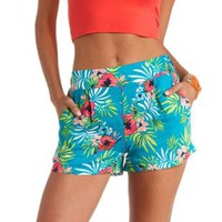Tropical Print High-Waisted Shorts by Charlotte Russe - Green Combo