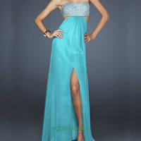 Elegant flowing chiffon sequins floor length gown - blue green(4 colors in) from Your Closet
