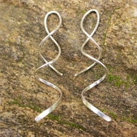 Sterling Spiral Silver Earrings, Dangle Earrings, Twist Dangles, Hammered