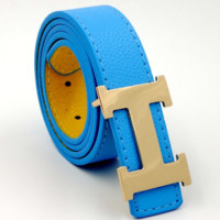 HERMES men and women models casual fashion belt Sky blue