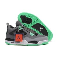 youts Nike Air Jordan 4 (IV) Retro Dark Grey/Green Glow-Cement Grey-Black
