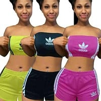 ADIDAS Printed letters women's two-piece suit blouse + shorts student