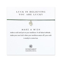 luck is believing you are lucky shamrock evergreen silk necklace, sterling silver - Dogeared