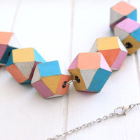 Pastel Wooden Faceted Beads by solittletimeco on Etsy
