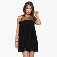 Sleeveless Mesh Upper Pleated Mini Dress with Ruffle