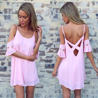 SIMPLE - Fashionable Sexy Pink Backless Strap One Piece Dress b118