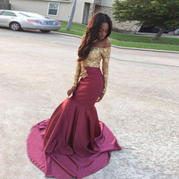 Off the Shoulder Sexy Prom Dresses Mermaid Long Sleeve Lady Formal party Dress with Gold Appliques 2017 Prom Gowns WH95