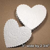 25 Large Embossed Hearts, Embossed Paper Hearts, Die Cut White Heart, Scallop Heart, DIY Wedding (3x2 3/4)