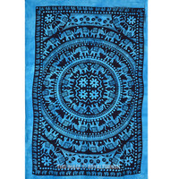 Twin Blue Tie Dye Elephant Tapestry Wall Hanging Throw Mandala Bedspread on RoyalFurnish.com