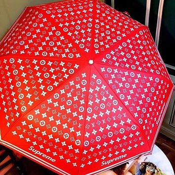LV Louis Vuitton Fashion New Men's and Women's Printed Letters Red Automatic High-end Umbrella