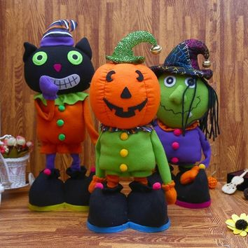 Halloween Orange Pumpkin Monster Doll Zombie Telescopic Plush Doll Toy Party Decoration Party Scream Soft Stuffed For Kids Gift