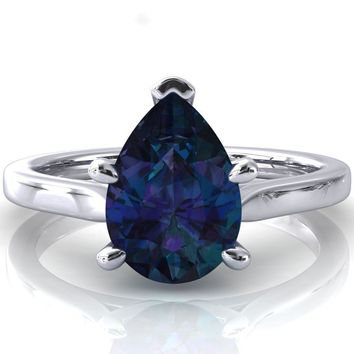 Darci Pear Alexandrite 5 Prong Cathedral Solitaire Engagement Ring