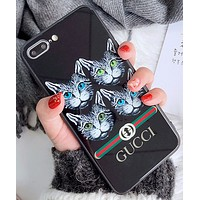 Gucc four cat iPhone7plus toughened glass case mirror apple 8X/6S protective cover female