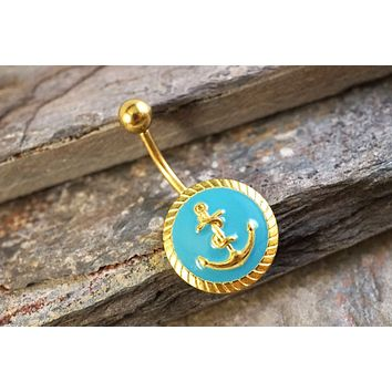 Gold and Turquoise Anchor Belly Button Jewelry Ring