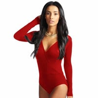 New Rompers Womens Jumpsuit Ladies Womens Long Sleeve Leotard V Neck Wrap Front Stretch Bodysuit Tops 19
