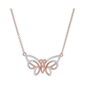 10k Rose Gold Women's Round Diamond Butterfly Necklace- FREE Shipping (US/CA)