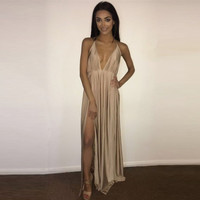 2016 New Women Backless long Dress Sexy Club spaghetti strap Double High Split Dress Deep V Neck Slim Maxi Party Dress Vestidos
