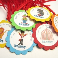 Circus Favor Tags, Personalized and Prestrung from Adorebynat