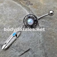 Tribal Opal White Belly Button Stars Navel Ring Body Jewelry Fits in Navel 14ga Cute Belly Ring