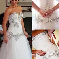 [188.99] Marvelous Tulle & Satin Sweetheart Neckline A-Line Wedding Dresses With Beaded Embroidery - dressilyme.com