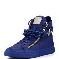 Men's Chain & Zipper Leather High-Top, Praga Bluette - Giuseppe Zanotti - Praga bluette
