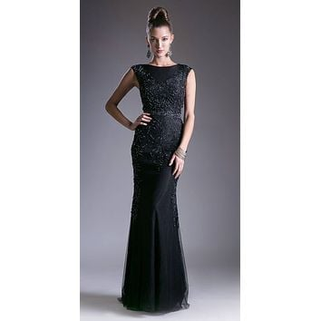 Black Sleeveless Long Formal Sheath Dress with Beads and Appliques