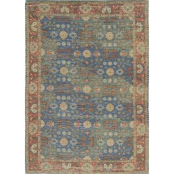 """8' 6"""" x 11""""6"""" Jute Blue/Red Area Rug"""