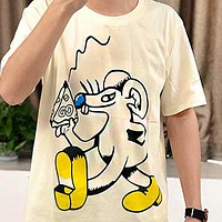 GUCCI Popular Women Men Casual Cheese Mouse Print Round Collar T-Shirt Top