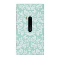 Mint Green Flower Embossed Hard Case for Nokia Lumia 920 (AT&T) - Includes DandyCase Keychain Screen Cleaner [Retail Packaging by DandyCase]