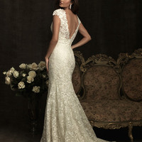 Ivory Lace & Charmeuse Deep V Neckline Cap Sleeve Wedding Gown - Unique Vintage - Homecoming Dresses, Pinup & Prom Dresses.