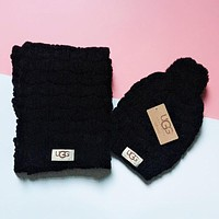 """UGG"" Winter Popular Women Men Knit Warmer Hat Cap Scarf Two Piece Set Black"