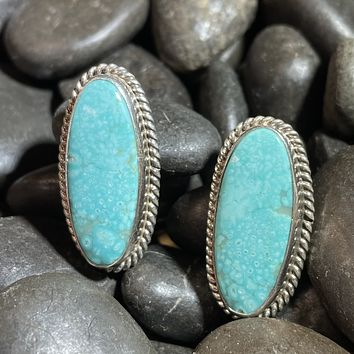 Oval Genuine Sterling Silver & Turquoise Long Post Earrings