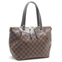 Auth LOUIS VUITTON Damier Westminster PM Tote Bag N41102 Ebene /59083 FREE SHIP