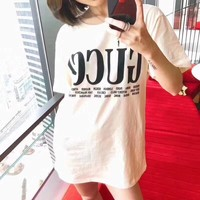 """""""Gucci"""" Women Simple Casual Letter Print Short Sleeve T-shirt Top Tee"""