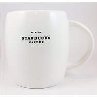 Large White Starbucks Coffee Mug Cup 2008 14oz Rounded Black Lettering k355