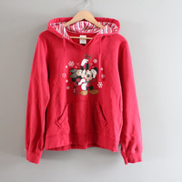 Micky Mouse Sweatshirt Red Minnie Hoodie Disney Hooded Sweatshirt Fleece Lining Hipster 90s Vintage Size M - L