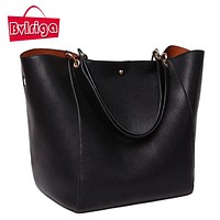BVLRIGA Women messenger bags leather luxury handbags women bags designer vintage big size tote shoulder bag high quality bolsos