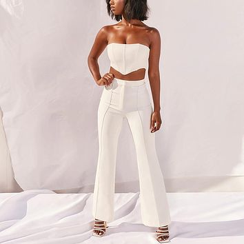 yelainse29 tube top wide-leg pants cropped top with fish bone fashion sexy casual suit women