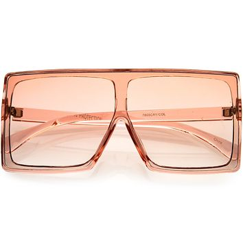 Go Pink! Bold Colored Tinted Lens Translucent Flat Top Oversize Shield Sunglasses D109