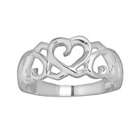 Silver Plated Openwork Heart Ring (Grey)