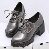 Lace-up High Chunky Heels Platform Ankle Shoes