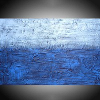 "ARTFINDER: "" Electric Blue "" impasto painting wall art blue tones in acrylic wall abstract canvas abstraction 36 x 24"" by Stuart Wright - "" Electric Blue""  in shades of blue on an impas..."