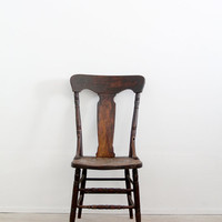 antique fiddleback chair / 1900s wood chair