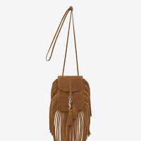 SAINT LAURENT TOY ANITA FRINGED FLAT BAG IN LIGHT OCHRE SUEDE | YSL.COM